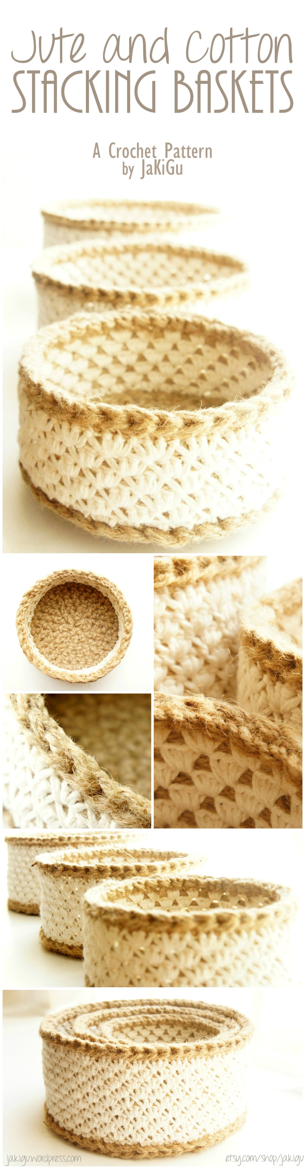 Jute and cotton stacking baskets - and original crochet pattern by jakigu.com