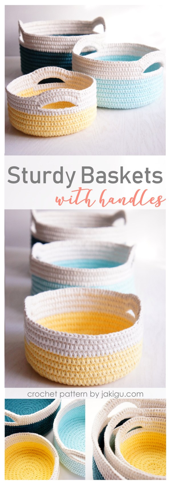 Sturdy crochet baskets with handles | jakigu.com