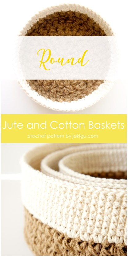Crocheting with jute - round stacking baskets, crochet pattern by jakigu.com