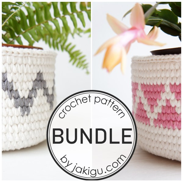 Crochet Pattern Bundle by jakigu.com   chevron crochet baskets