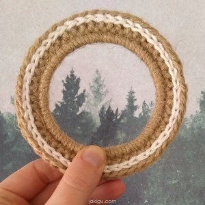 jakigu.com | jute and cotton picture frame | free crochet pattern