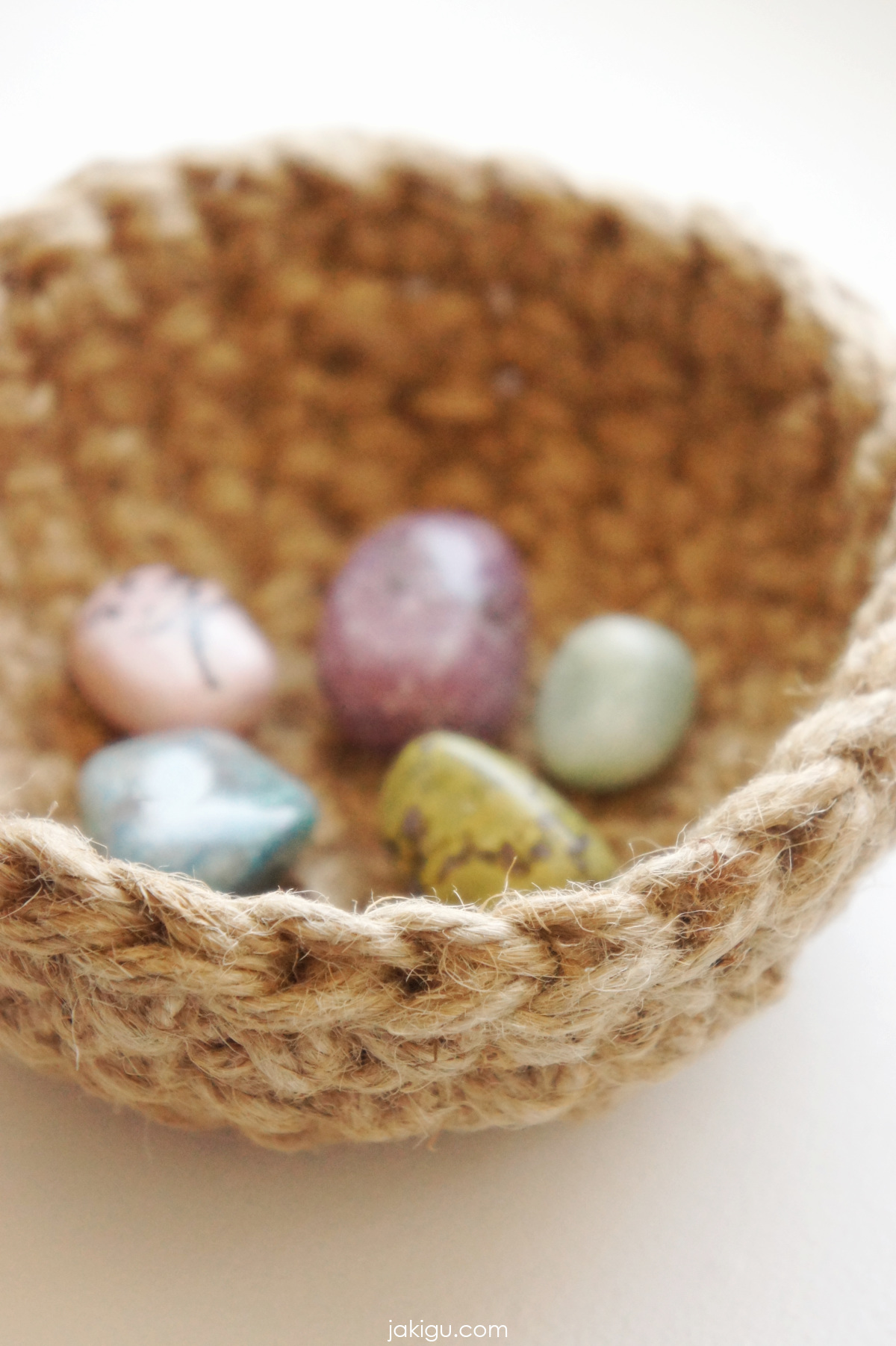 jute crochet bowl and semiprecious stones