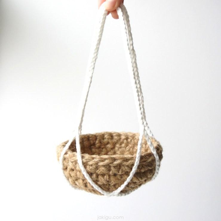 jute basket in cotton hanging net