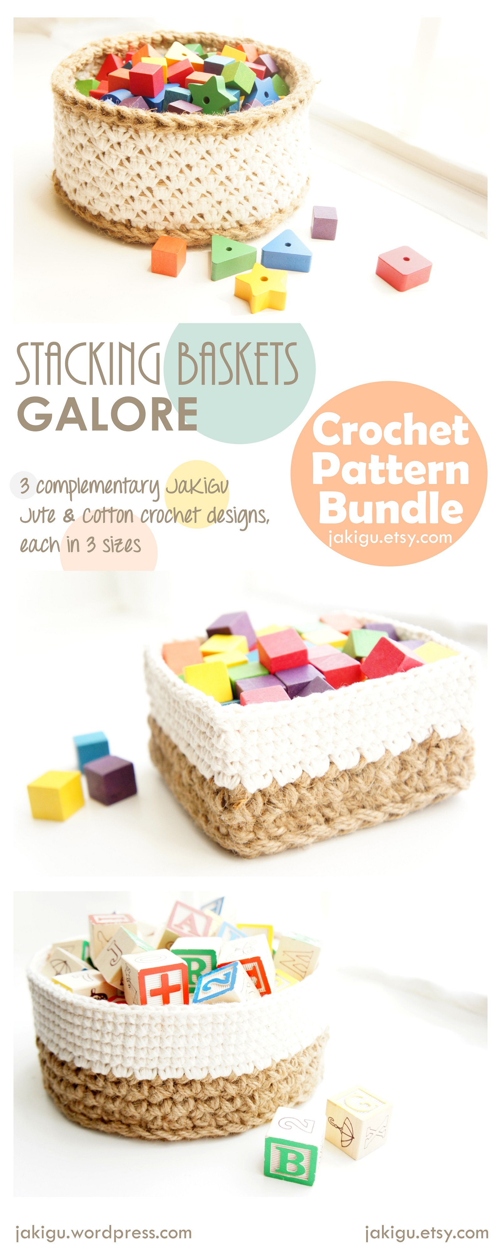 crochet baskets pattern bundle