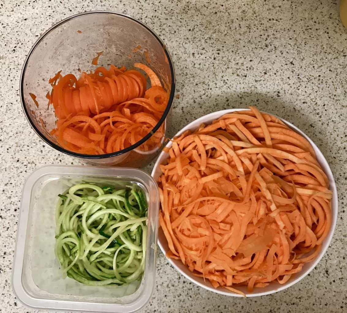 Spiralized sweet potato, carrot and courgette