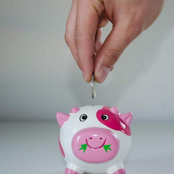 saving money with a piggy bank