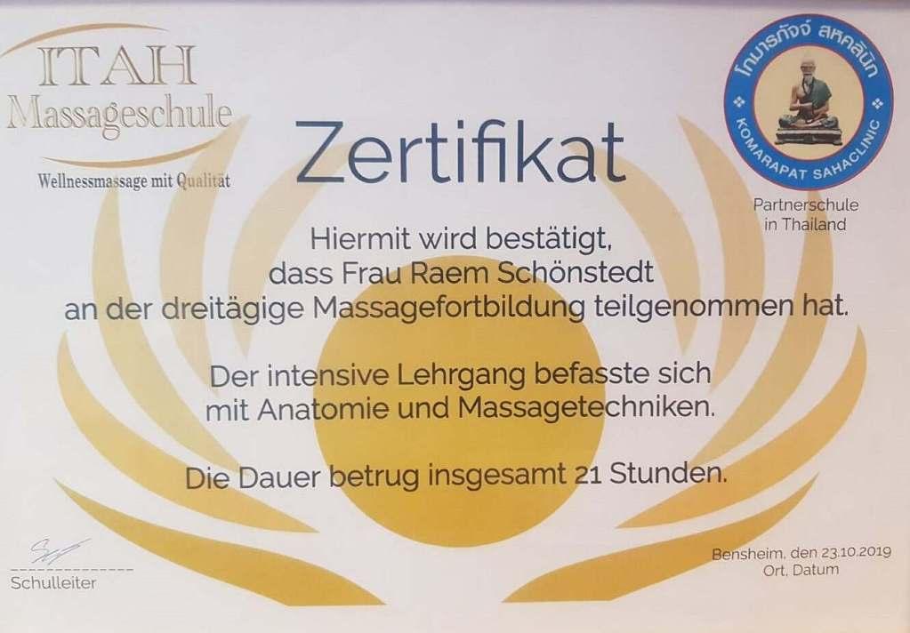 Zertifikat Massage Aschaffenburg