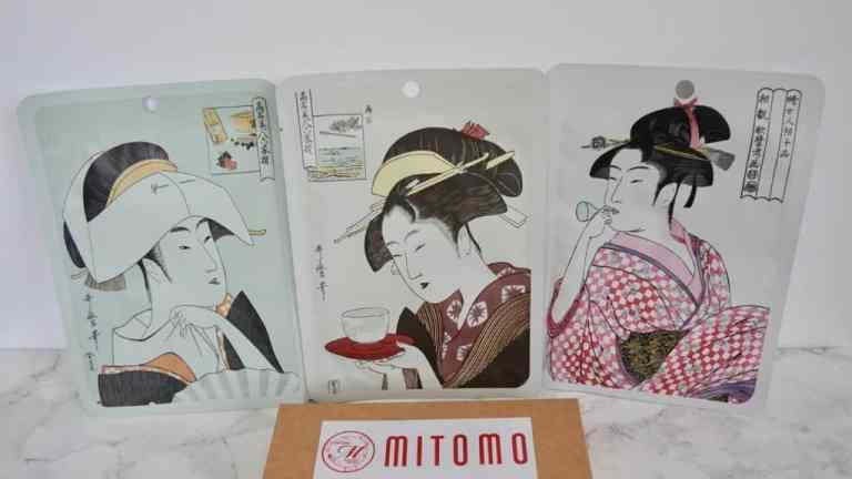 Mitomo, maski do twarzy w płachcie Ukiyo-e