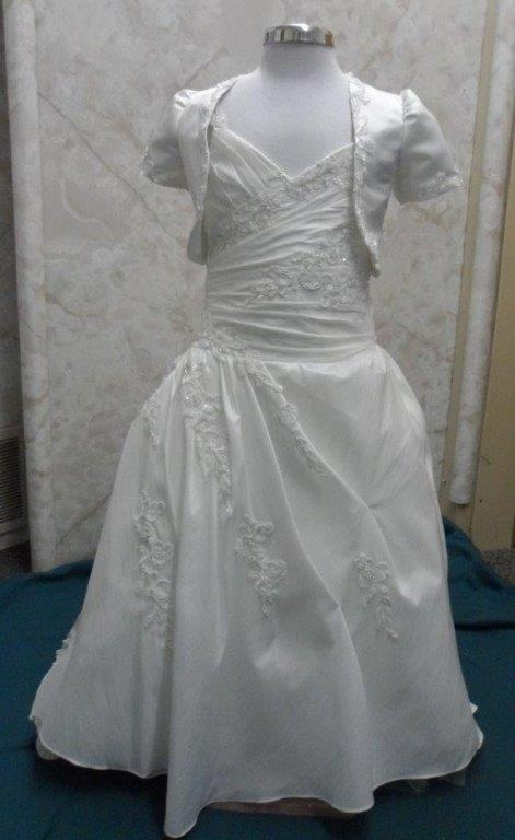 Miniature wedding dress with lace cap sleeves, ruched bodice with matching jacket