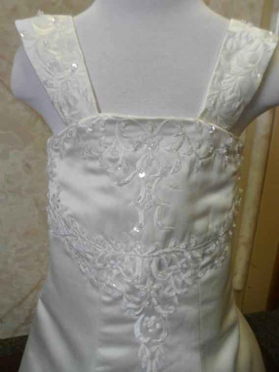 ivory embroidered infant miniature brides gown