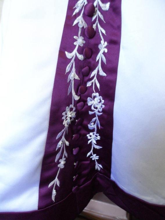 white and purple flower girl dresses