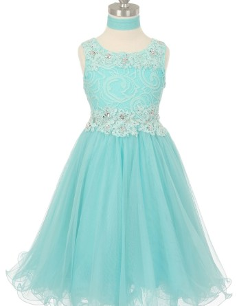 girls aqua lace easter dresses