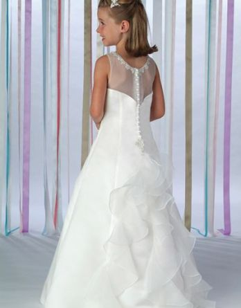 Girls ruffled back flower girl dress. Sheer organza back with covered buttons draped to organza ruffles down the back.
