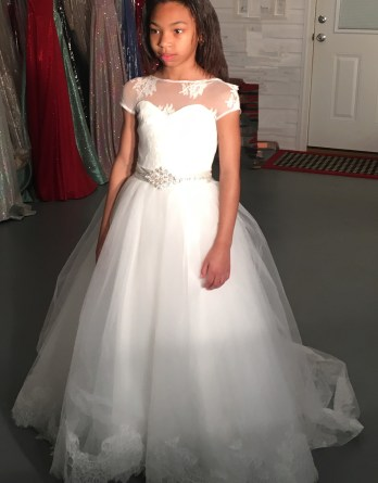 Lace flower girl ball gown beaded sash