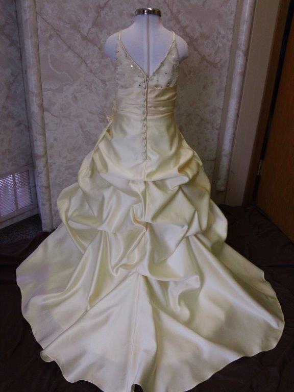 Sweetheart miniature wedding dress girls yellow satin pickup flower yellow flower girl dress with train mightylinksfo
