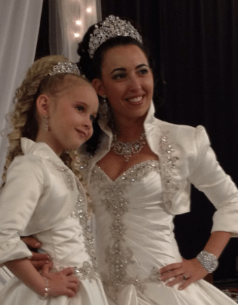Bride and flower girl matching dress and jacket