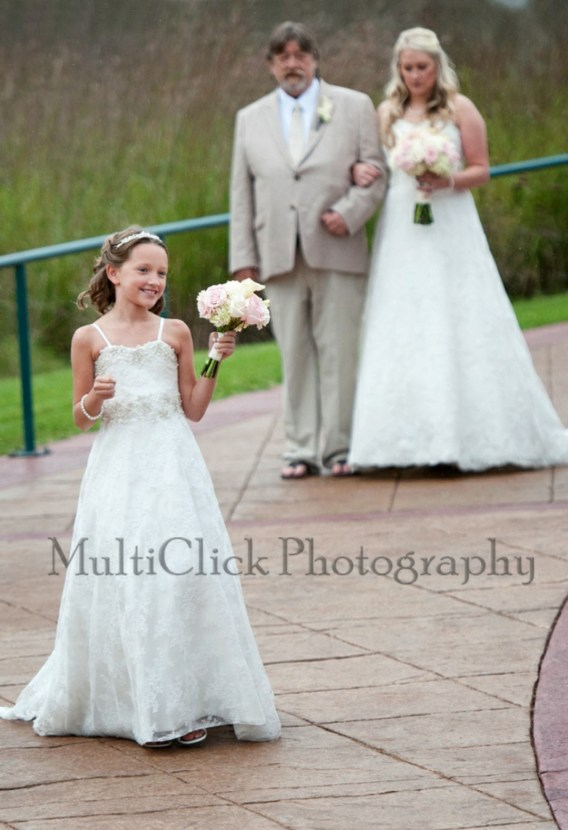 matching bride and flower girl dresses