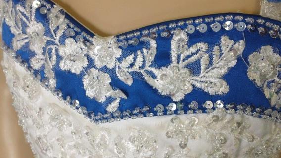 ivory and royal blue flower girl dress