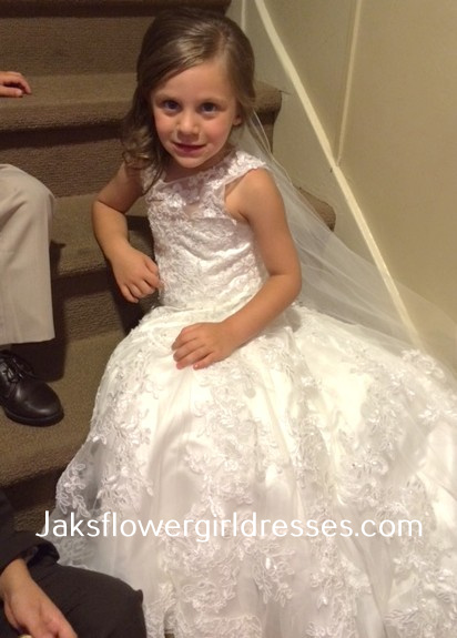 f91acd8545c Lace flower girl dress with train was designed to match the brides dress.