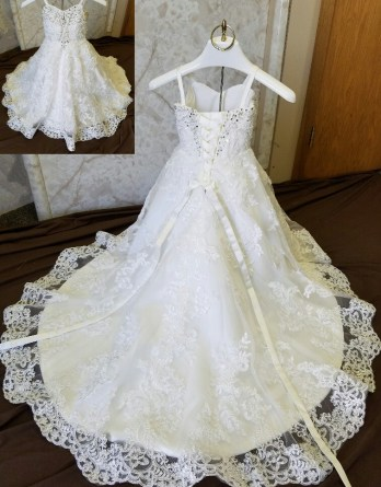 Child size 2 lace flower girl dress with train
