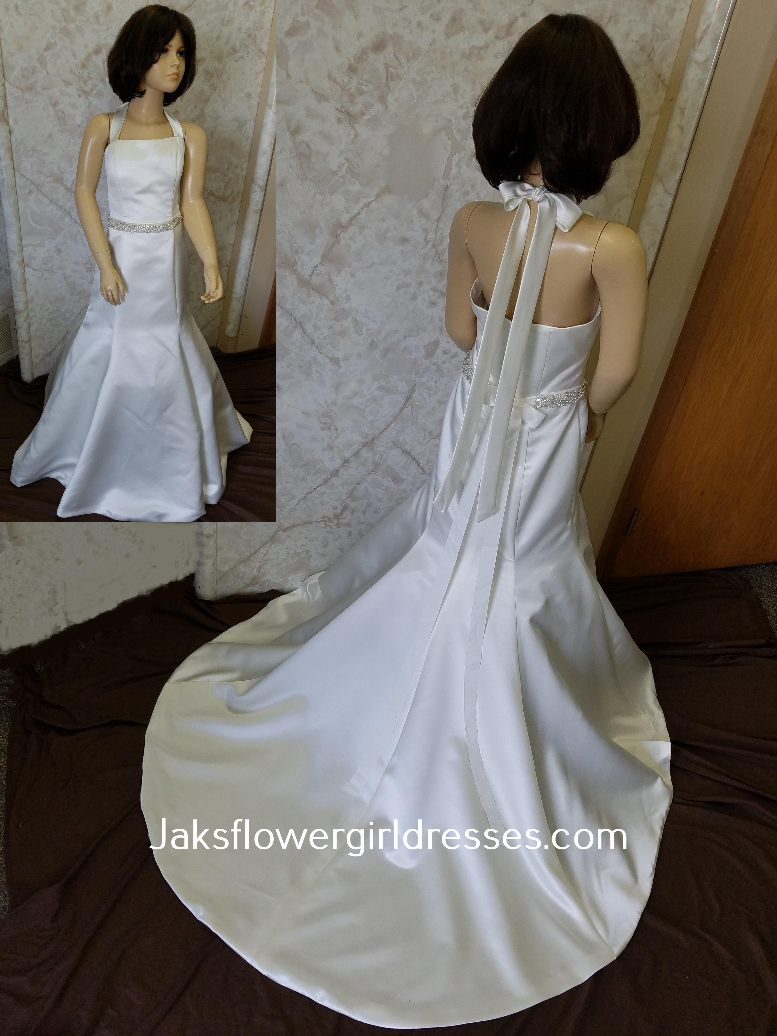 9d88ca97458 Trumpet flower girl dress with halter back