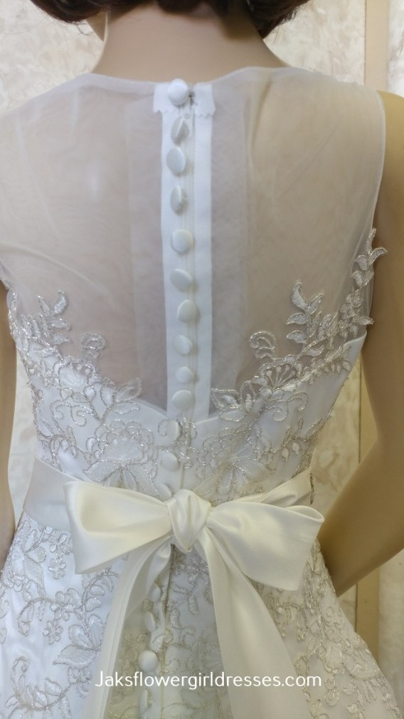 miniature bride dresses with sheer back