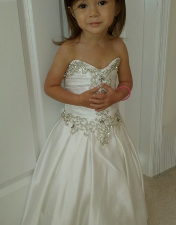 Toddler strapless fairytale flower girl dress. Floor length sweetheart dress adorned with luxurious crystals.