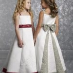 White with apple red flower girl dresses