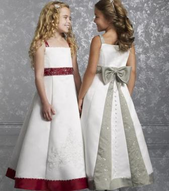Red and White Embroidered Flower girl dresses