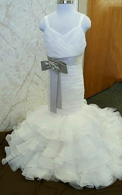 mermaid flower girl dress in ivory with gray sash.
