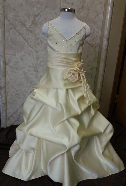 yellow flower girl dress with train