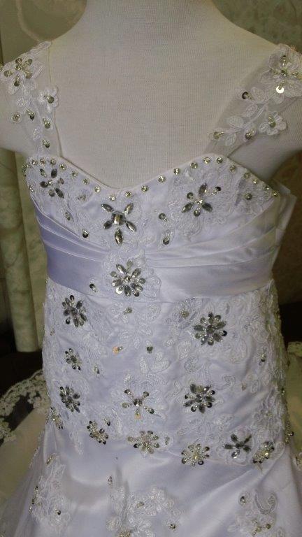 bride and matching flower girl dress