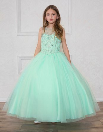 mint little girls ball room gowns