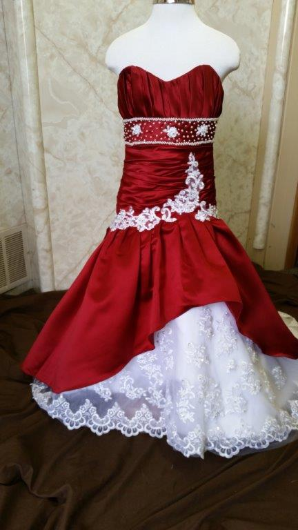 red miniature wedding dresses