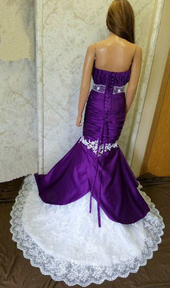 purple mermaid dresses for Dr J wedding