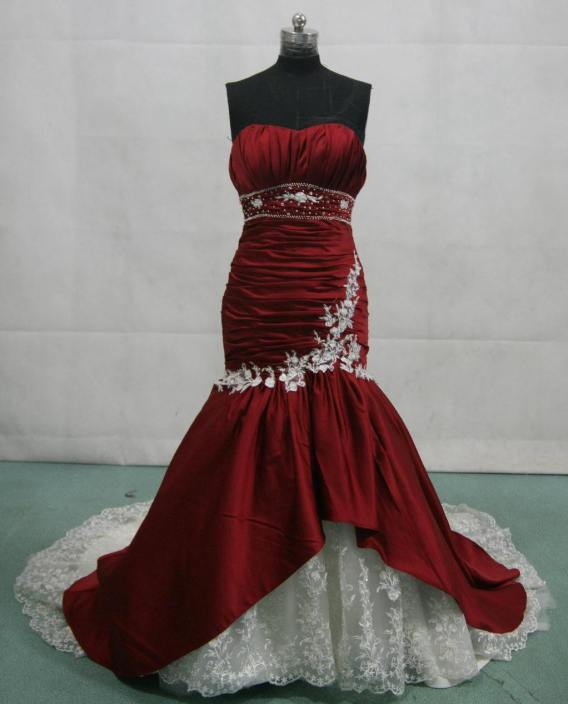 bridesmaid dresses in red and white