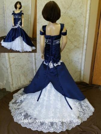 Navy mini wedding dress for flower girls