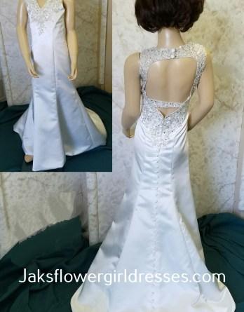 V neck open back flower girl dress