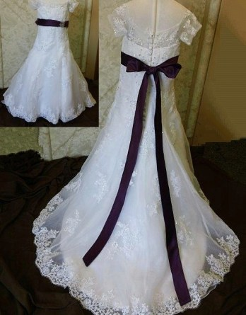 lace flower girl gown with purple sash