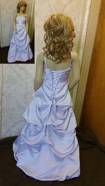 Purple junior bridesmaid dress with pickup skirt.