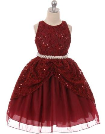 A great burgundy sequin embroidered girls dress with lace overlay. Features a pearl waistband which ties with a ribbon bow.