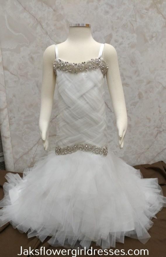 jewel trim flower girl dress