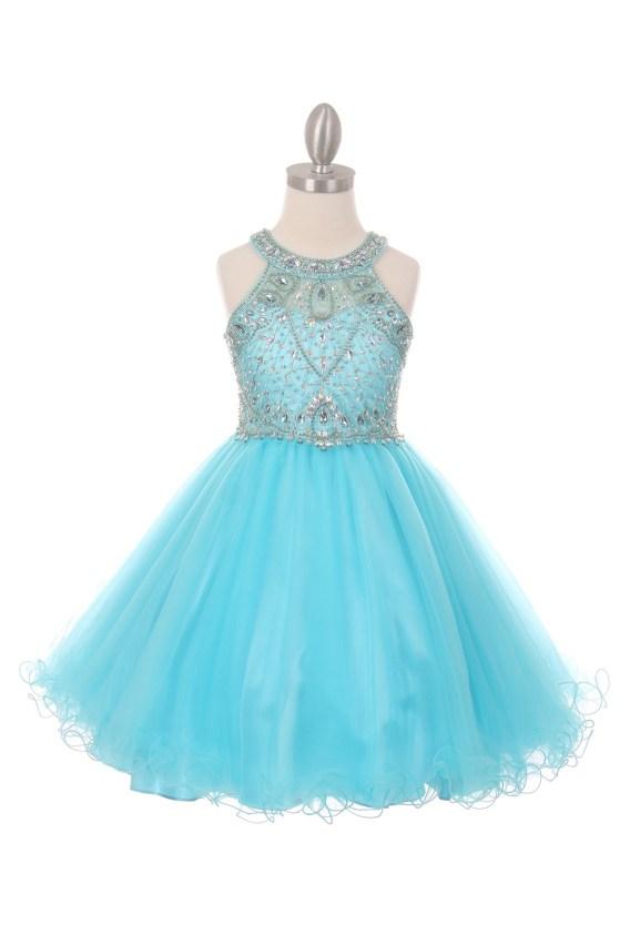 Dazzling halter neck rhinestone party tulle dress. Aqua girls rhinestone dress with open back.