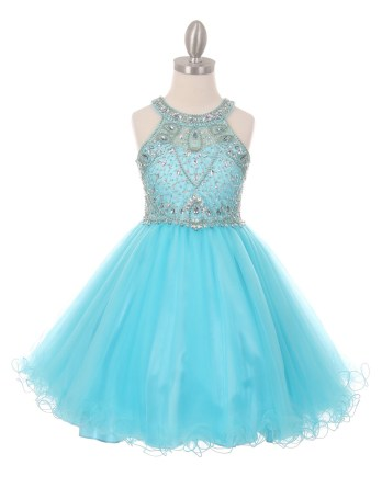 Dazzling halter neck rhinestone party tulle dress. Aqua girls rhinestone dress with open back.