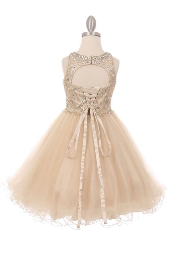 Girls rhinestone dress with open back.