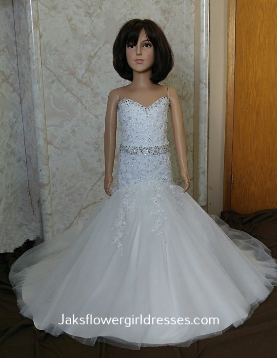strapless fit and flare flower girl dress with train