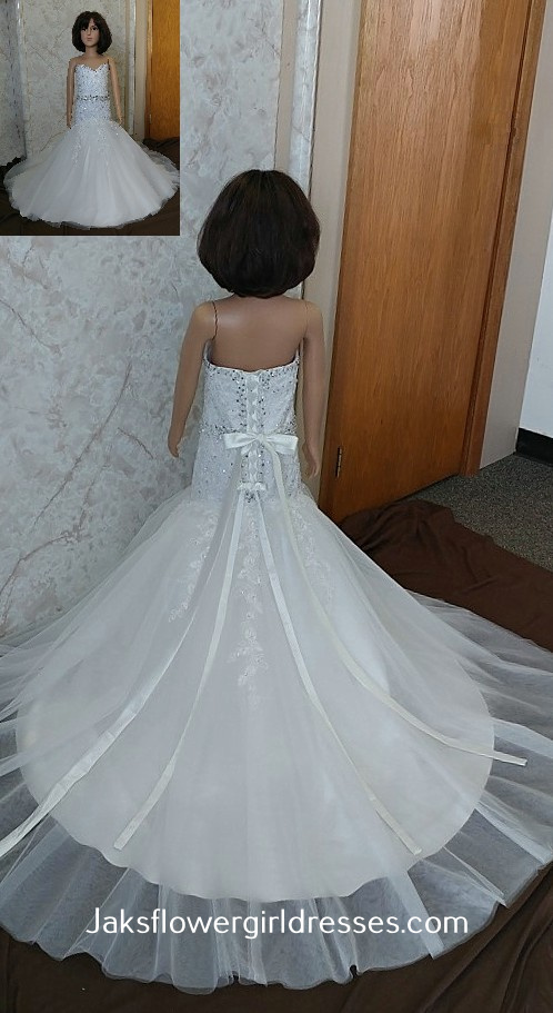 strapless fit and flare flower girl dress
