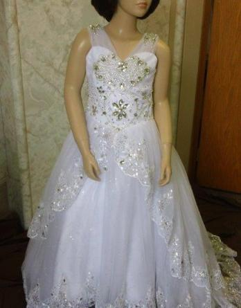 Jewel encrusted Flower girl wedding dress