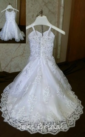 lace flower girl dress with train