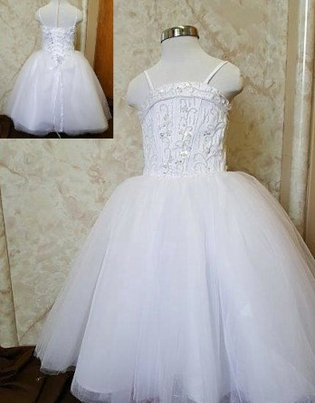 Tulle flower girl ball gown with cuffed neckline